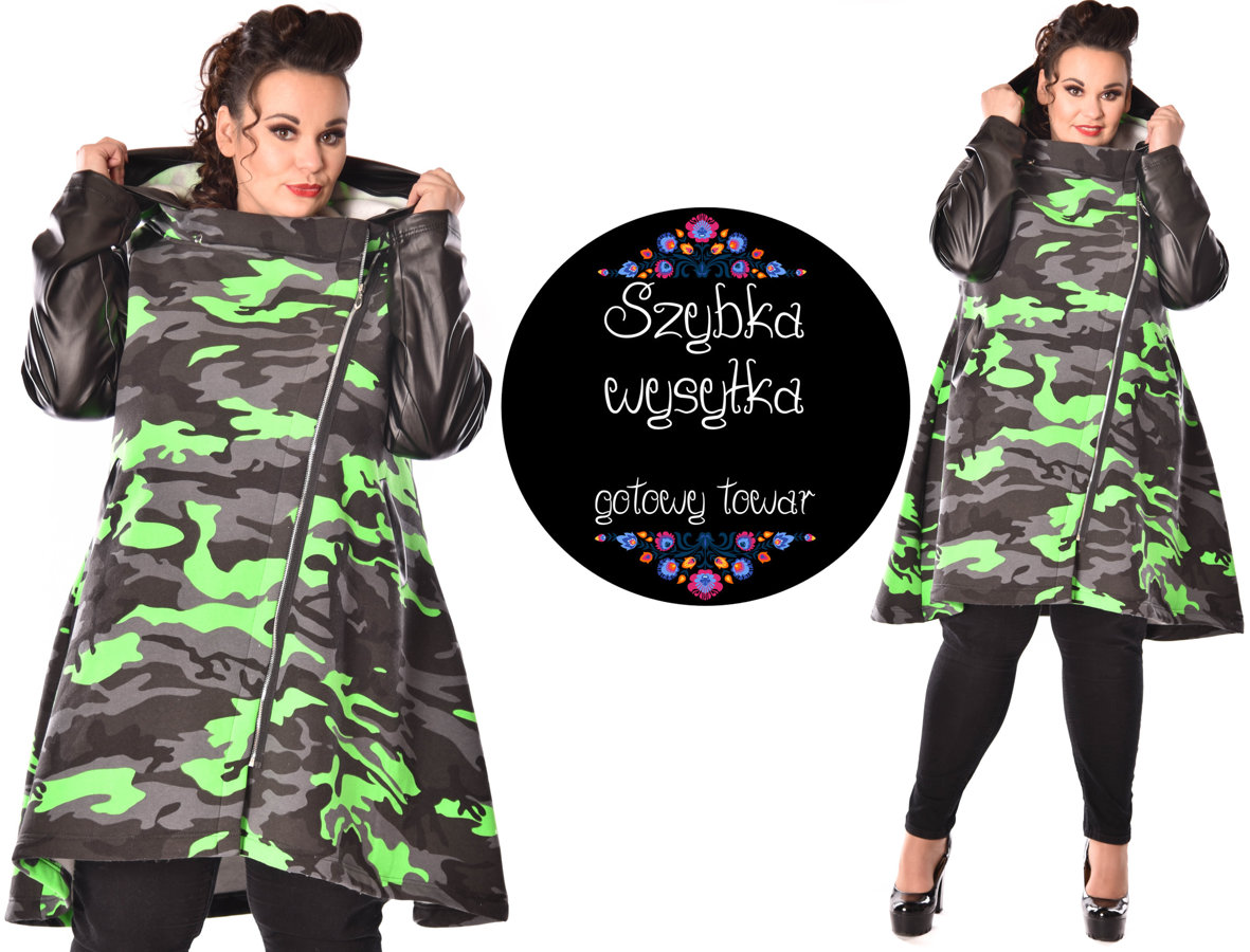 Płaszcz moro zieleń + Eco rękawy
