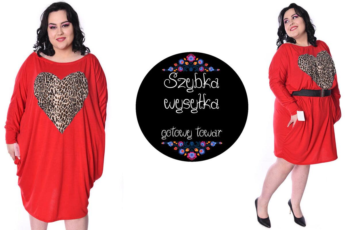 Sukienka czerwona serce pantera -PRODUKT DNIA