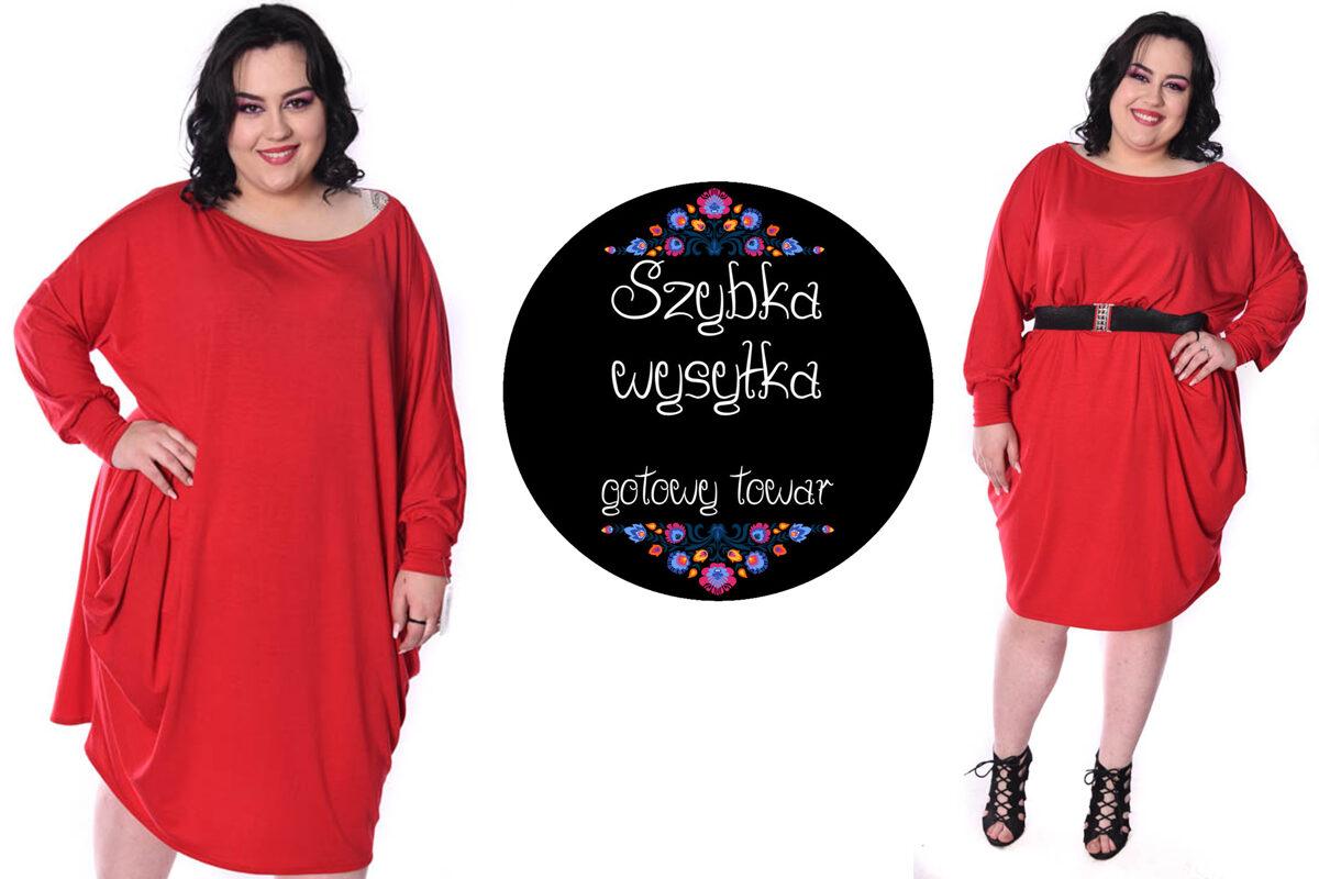 Sukienka over size czerwona