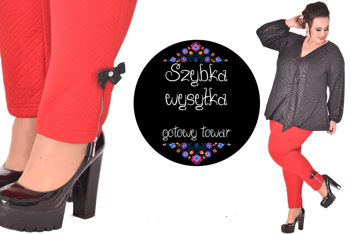 Czerwone spodnie z suwakiem i kokardkami