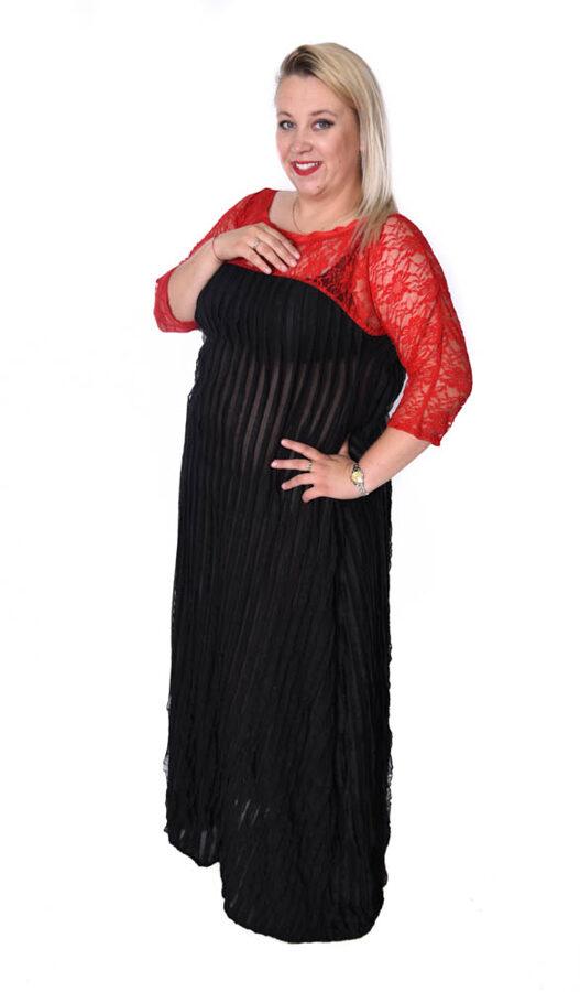 Elegancka sukienka maxi z koronką