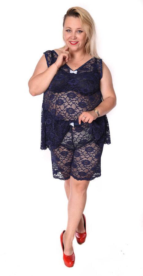 Piżama koronkowa granat
