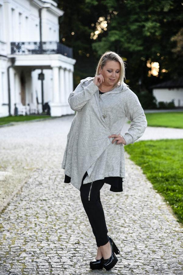 Bluza jasno szara over size