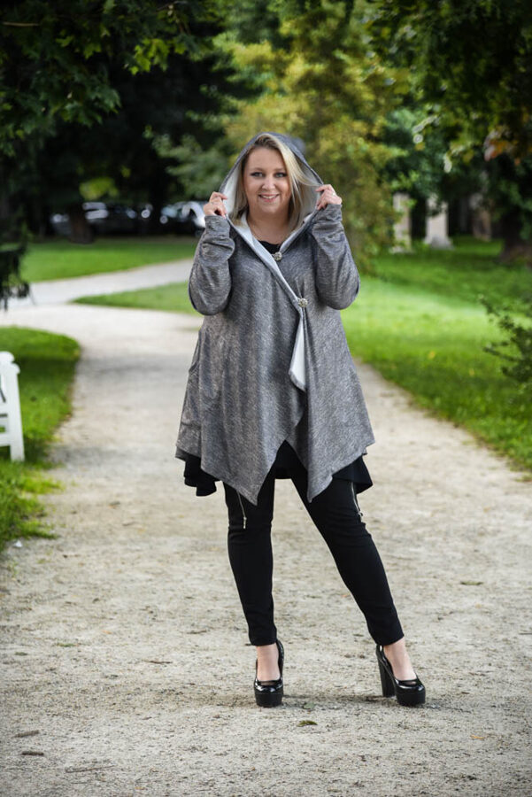 Bluza ciemno szara over size