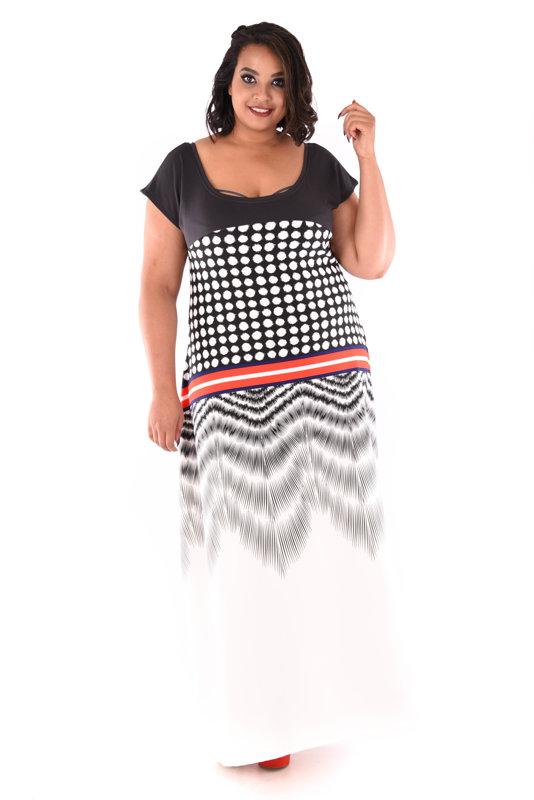 Sukienka maxi biało-czarna