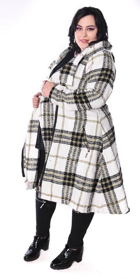 Płaszcz krata biały