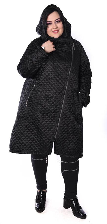 Czarny płaszcz z kratą