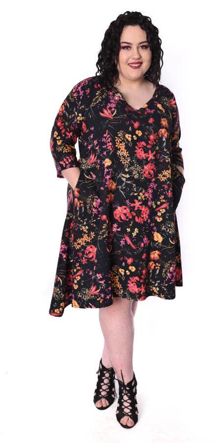 Sukienka czarna w kwiaty