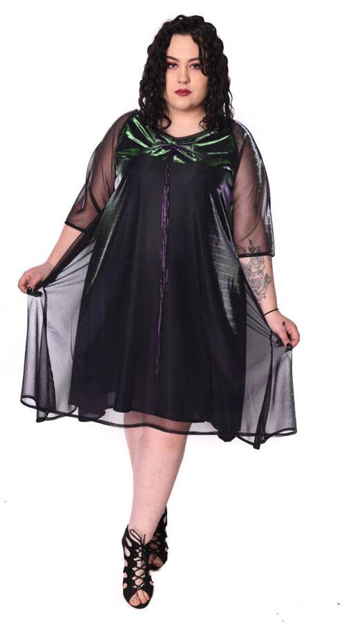 Sukienka opalizująca zieleń + fiolet