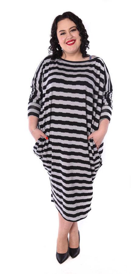 Sukienka over pasy szaro czarne
