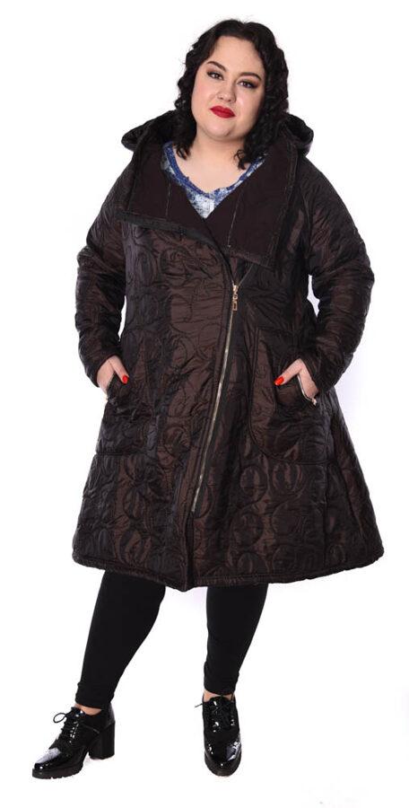Płaszcz ciemny brąz haftowany