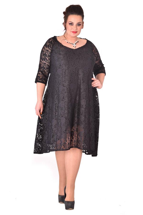 Czarna Sukienka Koronkowa