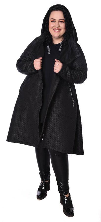 Płaszcz czarny laminat eco