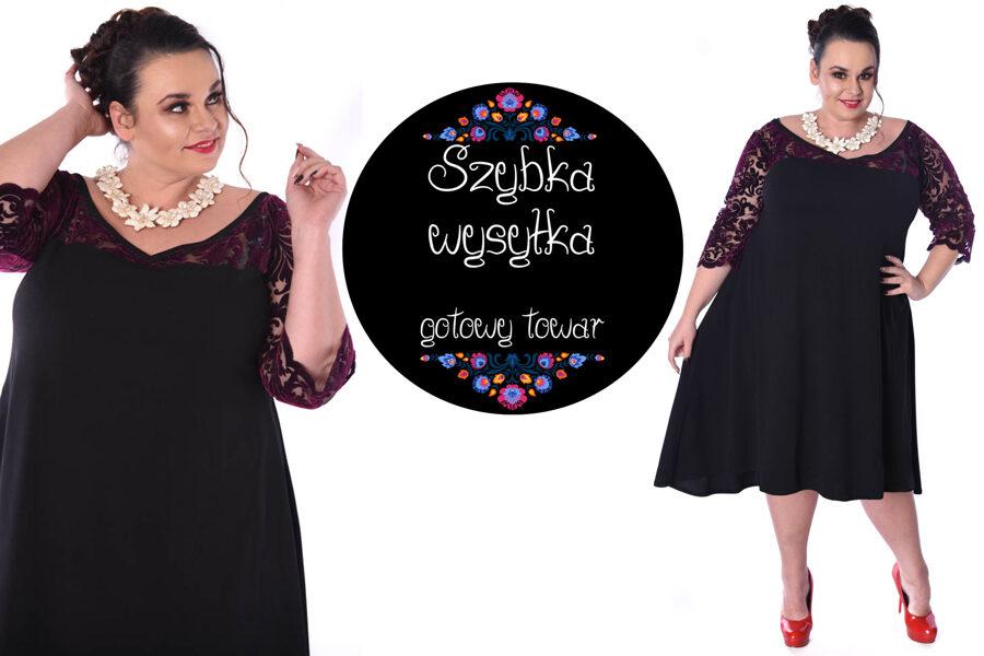 Sukienka czarna z welurową koronką