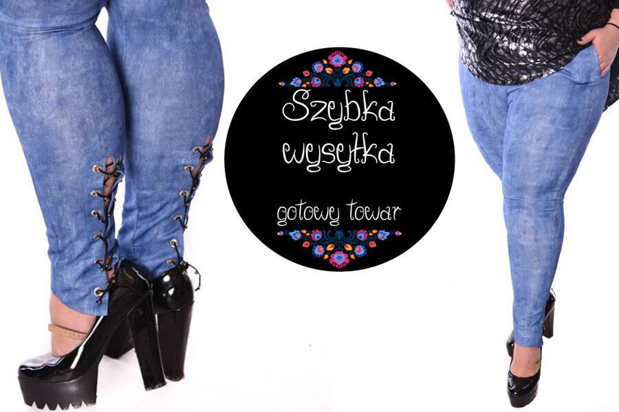 Spodnie jeans wiązania