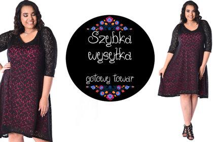 Sukienka koronkowa czarna fuksja