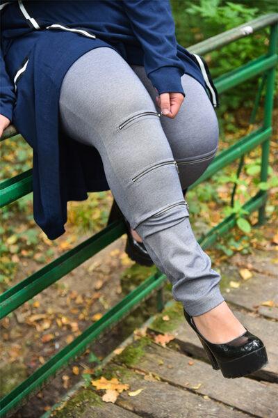 Spodnie Zip Szare