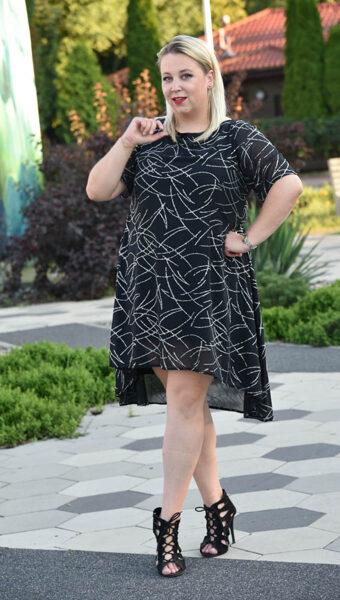 Elegancka czarna sukienka mieniąca
